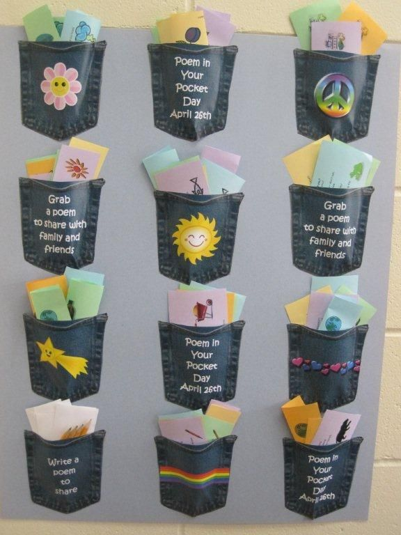 Super simple, super fun - Poem in Your Pocket Day display.  04/12