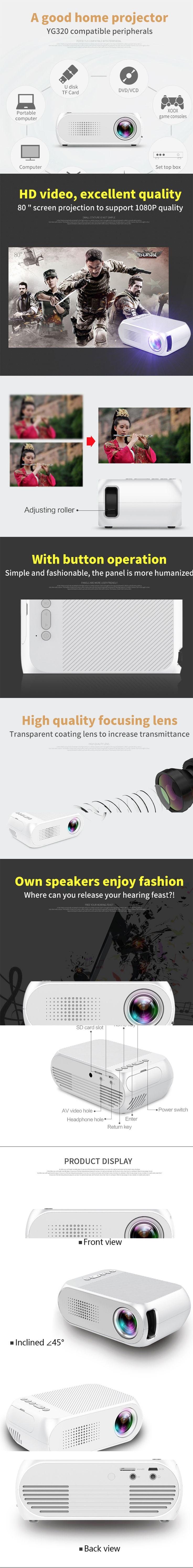 Proyector LCD portátil YG320, soporte de video HD para cine en casa / juegos / TV - Negro (enchufe de la UE) Entrega en la UE #gadgets #technology