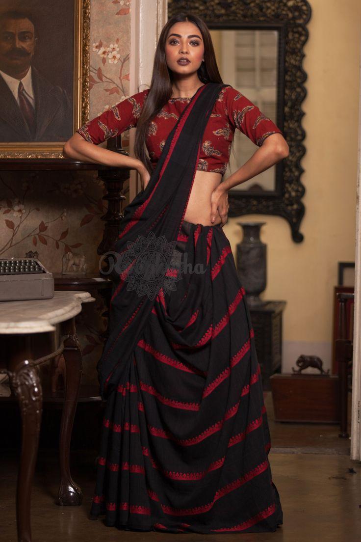 Black Khadi Cotton Handloom Saree With Red Thread Work - Roopkatha - A Story of Art
