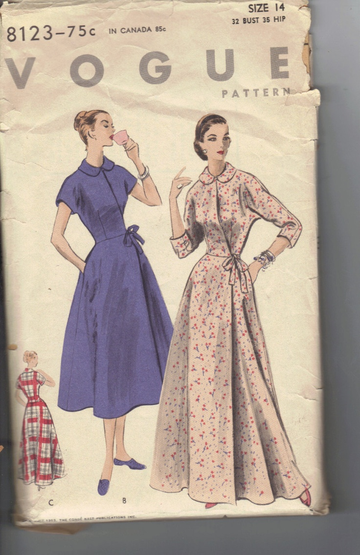 Vintage 1950's Women's Brunch Coat or Housecoat Pattern, Vogue 8123 Sewing Pattern, Size 14