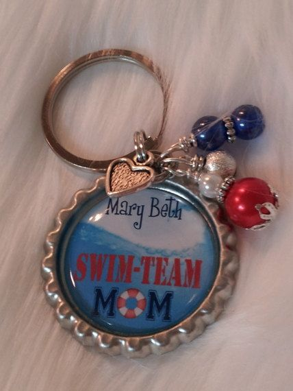 Swim Team MOM, Swim Team keychain, Swim Team Coach, Swim Coach gift. $14.50, via Etsy.