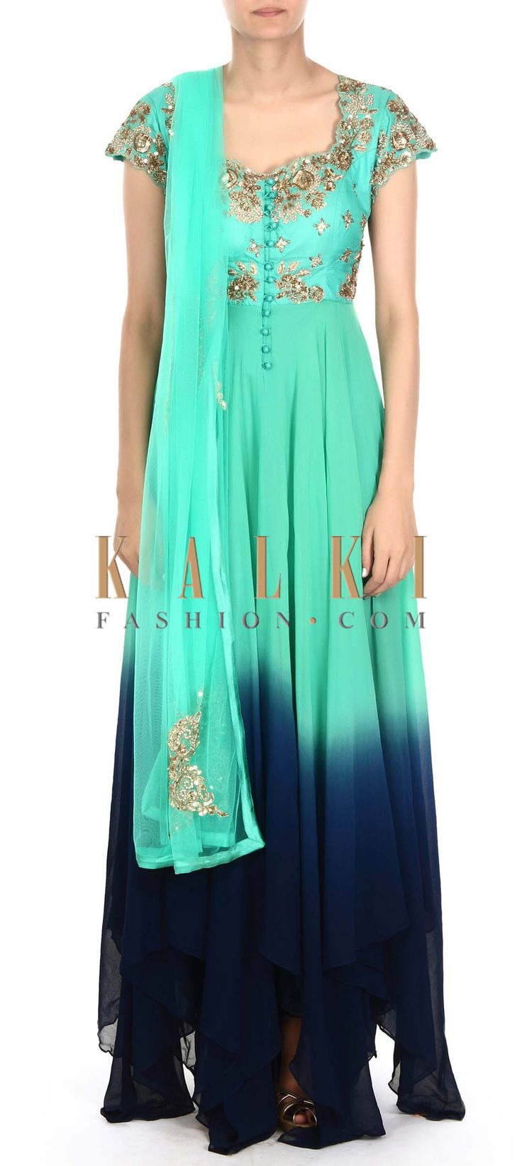 Buy this Green and navy blue anarkali suit adorn in zardosi only on Kalki