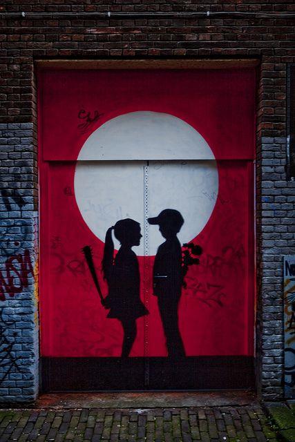 Street Art on doors in #Amsterdam #streetArt