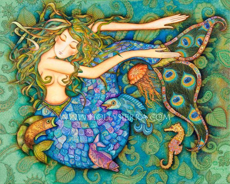 Beautiful Colors Mermaid.  Love the Peacock Tail Design