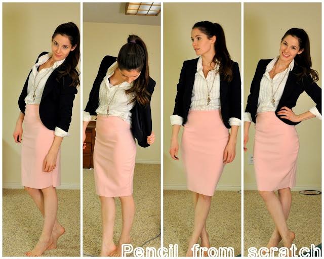 C: stretchy knit pencil skirt