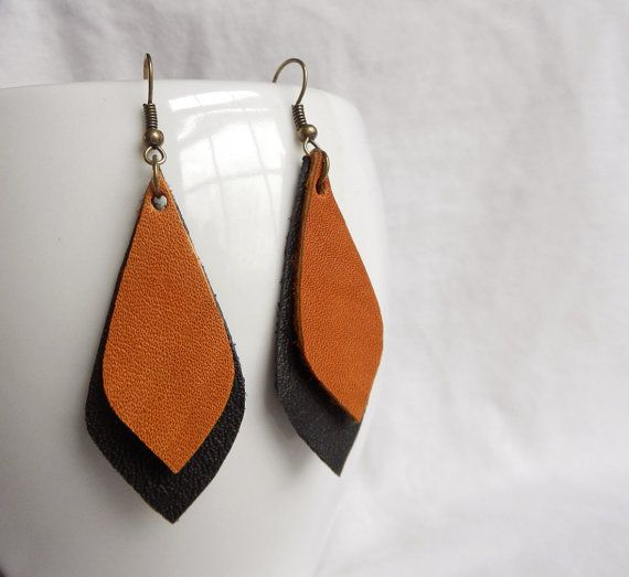 Leather Earrings Boho Earrings Teardrop by ShelbyJeanCustoms, $11.00