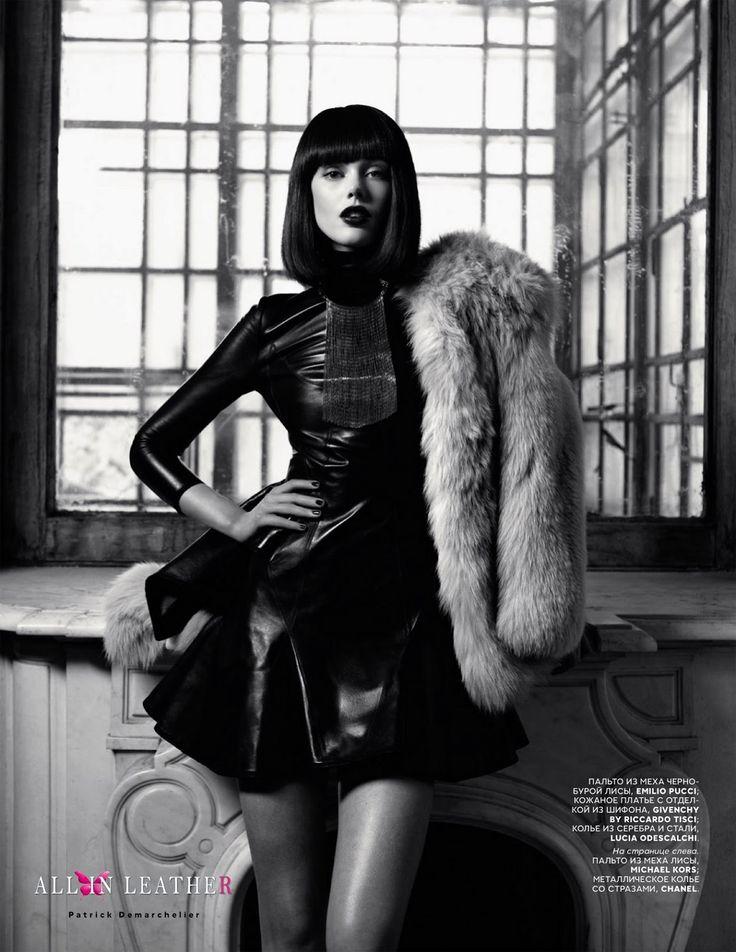 Frida Gustavsson fur coat leather dress Givenchy