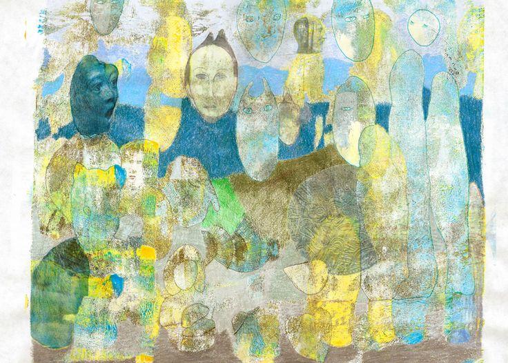 mixed media 111 gelli plate, marker, kleurpotlood, collage