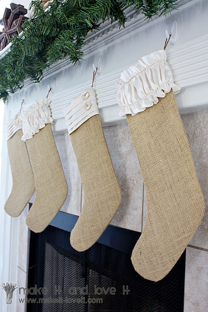 So classy: Burlap Christmas Stockings, Idea, Burlap Stockings, Buttons, Christmas Decor, Sewing Machine, Burlapchristma, Ruffles, Crafts