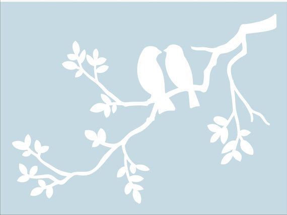 Two BIRDS on Branch **REUSABLE Stencil** - Cottage Signs **STENCIL** - Available in 5 sizes- Create Nursery Signs, Pillows or Wall Art