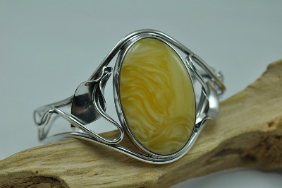 Oval shape milky amber bracelet,bangle - Amber bracelets.
