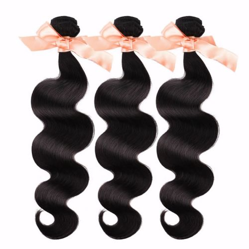 3 Bundles Malaysian Virgin Remy Hair Extensions BodWave Hair 12-28 inch 300g Natural Black $118.5