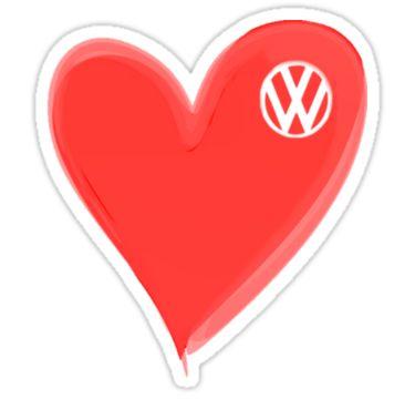 Volkswagen love-logo sticker by melodyart  (http://www.redbubble.com/people/melodyart/works/2617104-vw-large-love-heart-vw-logo-t-shirt?p=sticker)