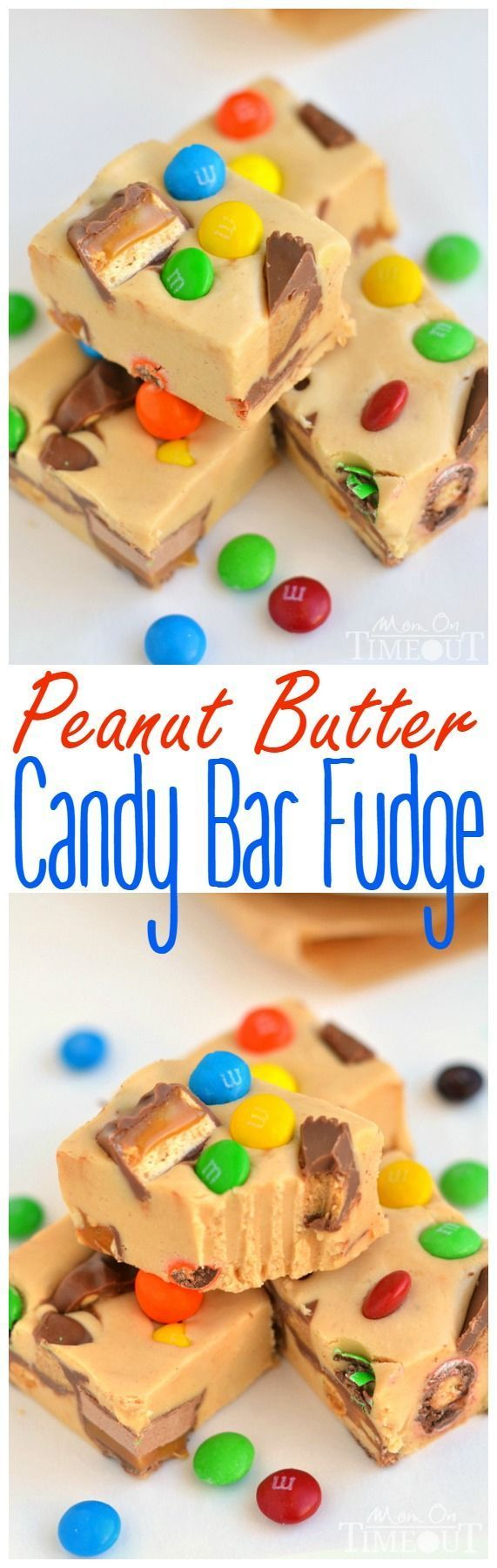 An excellent recipe for using up leftover candy and the perfect way to satisfy your sweet tooth - you simply must try this easy Peanut Butter Candy Bar Fudge recipe!   MomOnTimeout.com   #candy