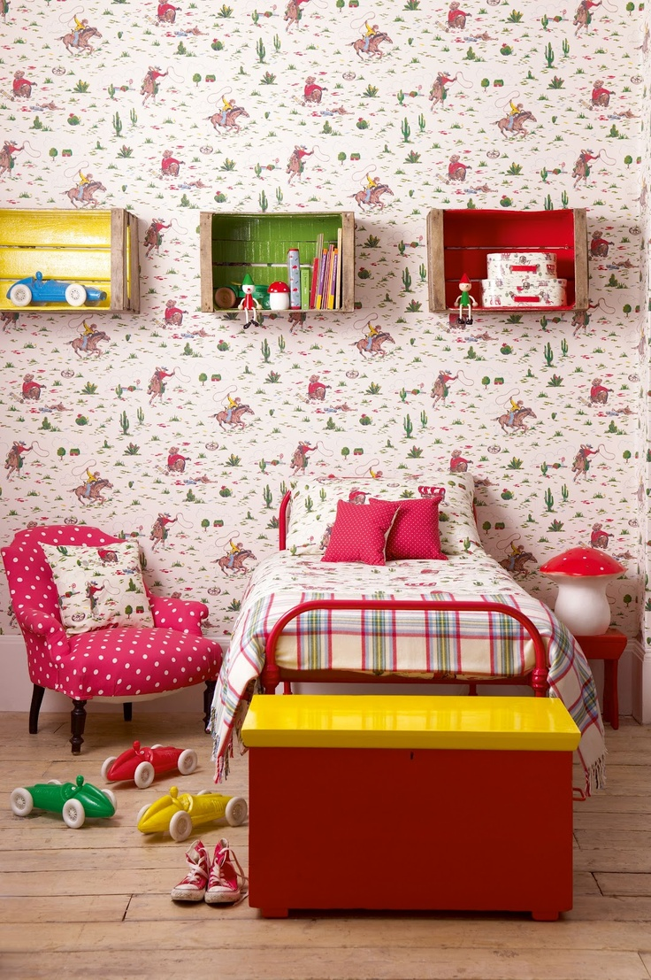 Adorable and eclectic: dots, cowboys, and plaid. Cath Kidston wallpaper.