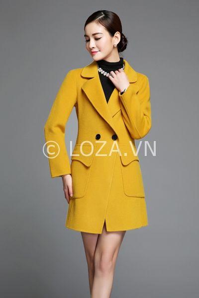 MT30 Áo khoác dạ nữ màu vàng túi ốp nổi