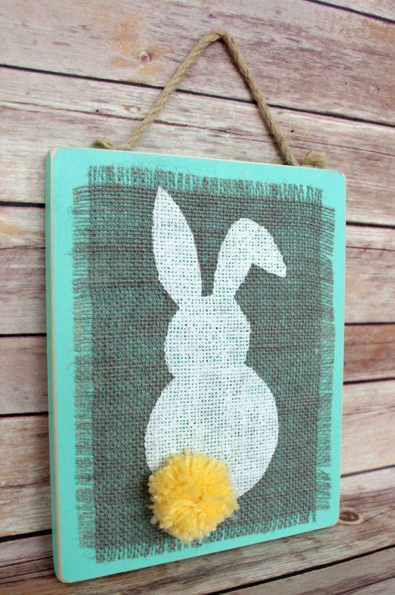 Stenciled Burlap Bunny Wall Art Plaque