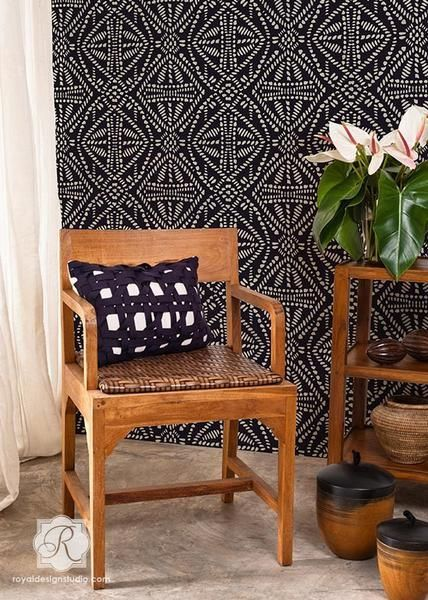 Add a tribal touch to any room with our Batik Allover Wall Stencil. Create two different looks stenciling it light over dark as we show, or dark over light for a more subtle feel. #EclecticDecor