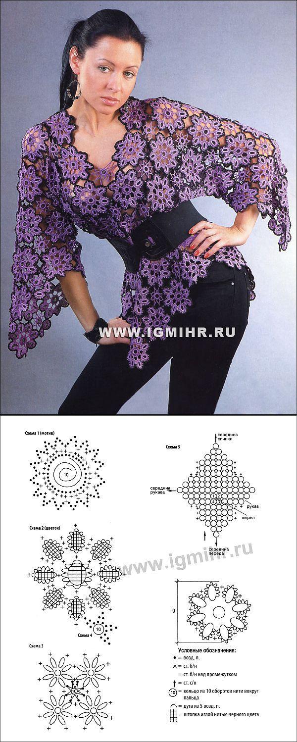 Пуловер из цветочных мотивов. Крючок
