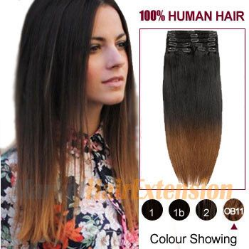 """20"""" Two Colors #2 And #10 Straight Ombre Indian Remy Clip In Hair Extension"""
