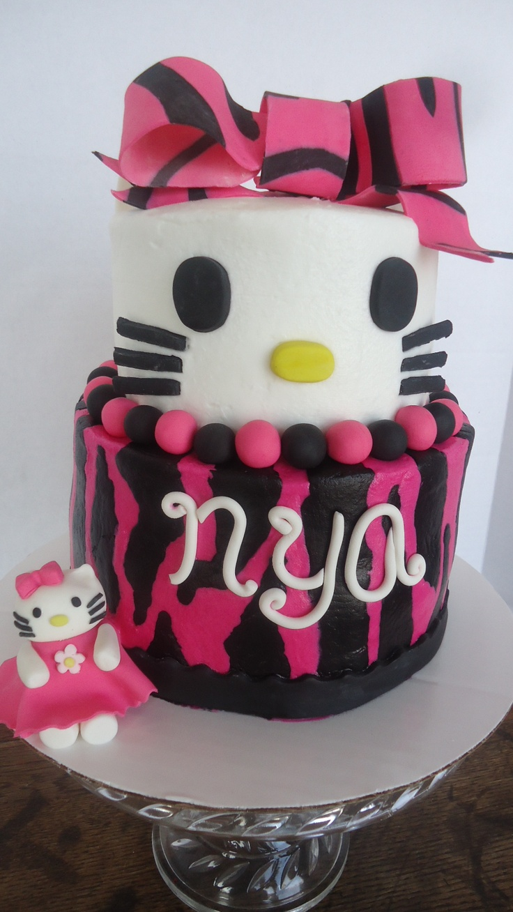 Hello Kitty Hot Pink Zebra 2 Tiered Cake | Cakes/Cupcakes ...