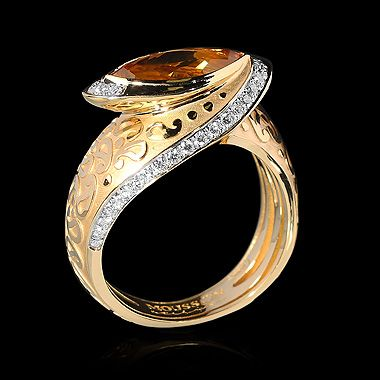 MOUSSON ATELIER Paisley Yellow gold 750, Citrine 1,42 ct., Diamonds