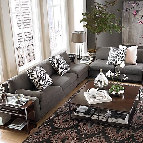 Bassett Furniture Gray Sofa Beige Walls L Shaped Sectional