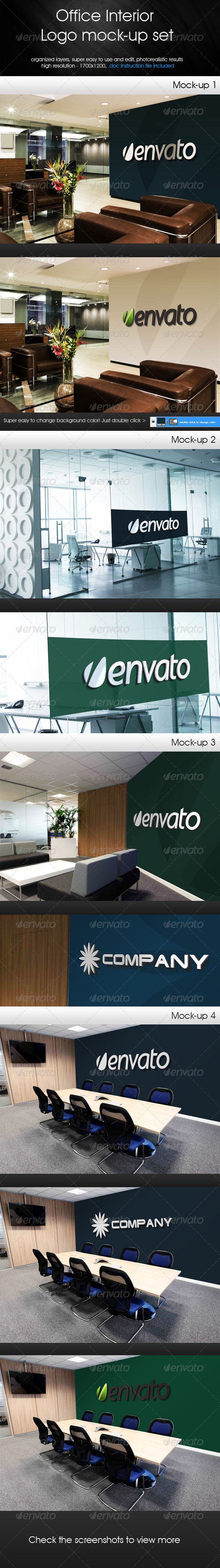 Office Interior - Logo Mock-up Set  #GraphicRiver         Unique Office interior logo mock-up set. Very easy to use and edit with smart objects. Photorealistic results. High resolution – 1700×1200. Instruction file included. Changeable background color. Well organized layers.     Created: 30August13 GraphicsFilesIncluded: PhotoshopPSD #JPGImage HighResolution: Yes Layered: Yes MinimumAdobeCSVersion: CS3 PixelDimensions: 1700x1200 PrintDimensions: 23.6x16.6 Tags: background #changeable #easy…