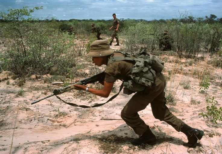 Bushmen of the South African army undergoing training in South West Africa, 1984.