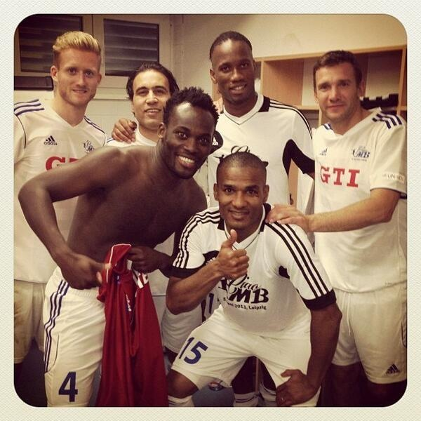 Great Picture from Ballack's Testimonial: Shevchenko Florent Malouda, Michael Essien, Didier Drogba, Schurrle