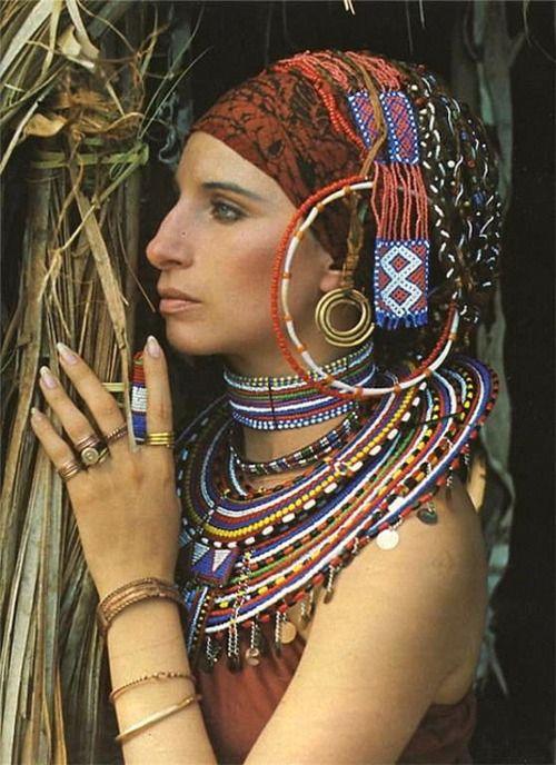 Barbra Steisand in Massai jewelleryBarbarastreisand, Barbara Striesand, Barbara Streisand, Barbra Steisand, Beautiful Women, Barbra Striesand, Beautiful People, Boho Style, Barbra Streisand