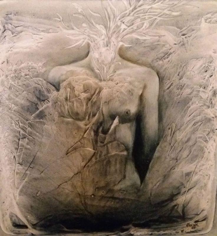 Surréalisme circa 1983 tableau signé   K.HAUKE   peinture acrylique sur panneau