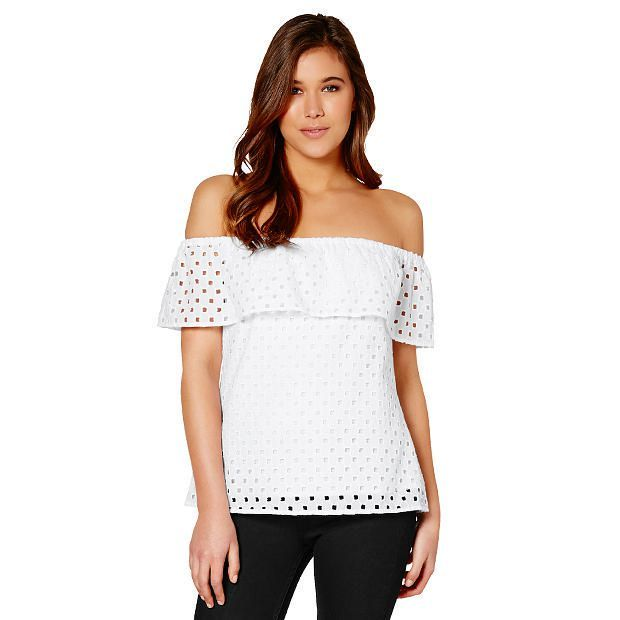 Lily Loves Anglaise Off The Shoulder Top