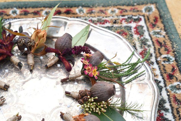 September wedding, buttonholes, boutonniere, gum nuts, rustic wedding