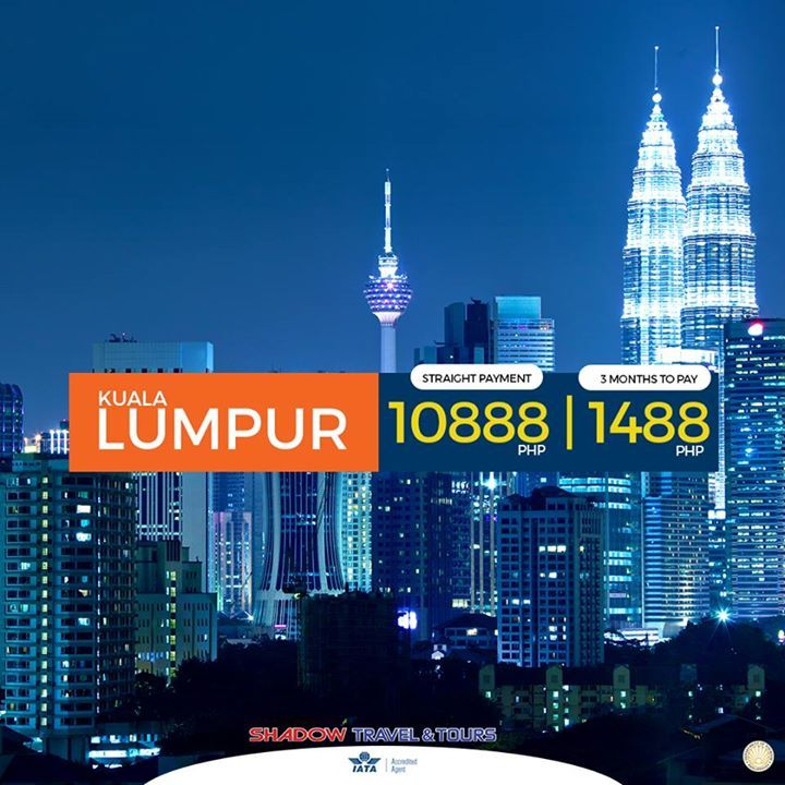 ENJOY ENDLESS WONDERS ONLY IN MALAYSIA!  CAUSE  THERE IS ALWAYS MORE TO EXPLORE IN KUALA LUMPUR!!! 3 Months to pay! Absolutely 0% Interest! w/ Airfare, Hotel Accommodation, and Tours!  for the price of ₱ 10,888 only!!! you can also pay installment by credit card for 3 months without interest!  ✪ KUALA LUMPUR INCLUSIONS: ✔ Roundtrip Airfare ✔ Hotel Accommodation ✔ Round Trip Transfers (Airport-Hotel-Airport) ✔ Half Day Kuala Lumpur City Tour ✔ Daily Breakfast ✔ All Hotel Taxes and Surcharges…