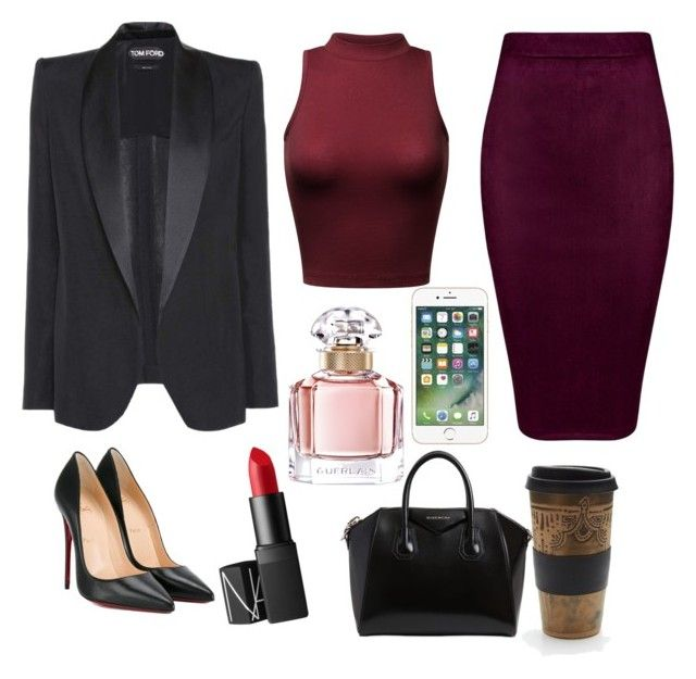 """Work Women Fashion"" by saffaatun on Polyvore featuring Christian Louboutin, Givenchy, NARS Cosmetics, Tom Ford, Free People and Guerlain"