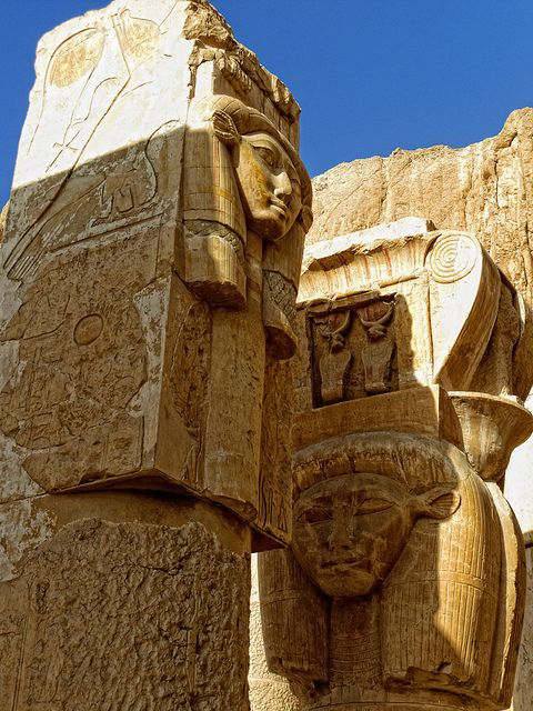Egypt, Hathor column capitals. Temple of Hatshepsut (1508-1458 BC), 18th Dynasty.