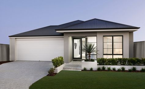 Ultra-modern rendered elevation with stylish windows and Colorbond roof