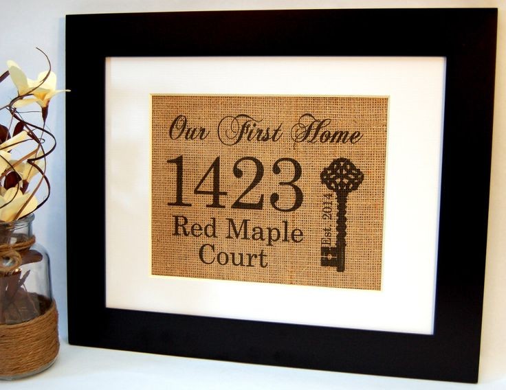 Our First Home, Personalized Housewarming Gift, Burlap Sign, Home Established, House Warming Gift, Burlap Print, Eco Friendly Home Sign by BusyBeeBurlap on Etsy https://www.etsy.com/listing/198532548/our-first-home-personalized-housewarming