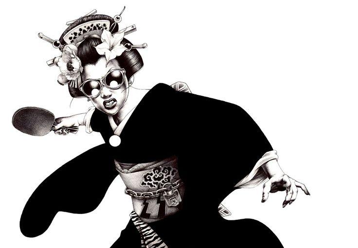 Hakuchi Manga Illustration - 温泉卓球芸者