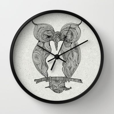 Owl Wall Clock by clickybird - Belinda Gillies - $30.00