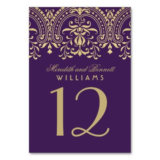 "Each table number card must be customized via Personalize it"" and individually added to the shopping cart. Elegant vintage glam eggplant purple and champagne gold design includes an decorative ornate border with sparkly gold shimmer textured appearance and wedding monogram that appears with the table number on both sides of the card (two-sided design)."