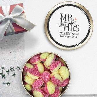 Dotty Mr and Mrs Personalised Travel Sweets - Rhubarb and Custard