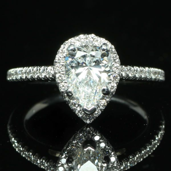 1 61 Ctw Halo Pear Diamond Engagement Ring Exchange Dallas Has Great Prices And Selection