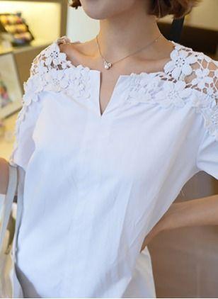 Llanura Casuales Algodón Cuello redondo La mitad de manga Camisas de