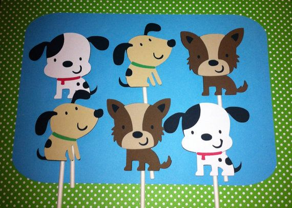 24 Puppy Cupcake Toppers, Puppy Baby Shower, Puppy Birthday, Dalmatian Decorations, Cake Toppers