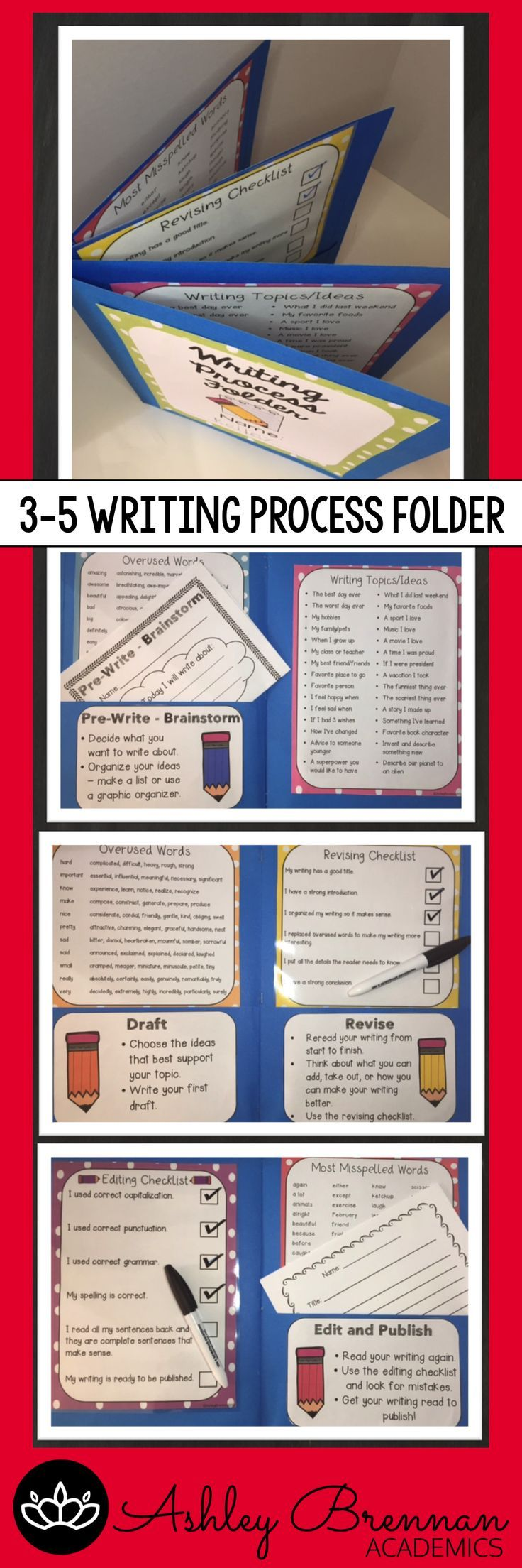 Help students through the writing process by attaching two folders.  Students can store their writing in a pocket according to what step they are in the process.  Also includes writing topic ideas, commonly misspelled and overused words, and editing checklists.  A MUST HAVE for the classroom!