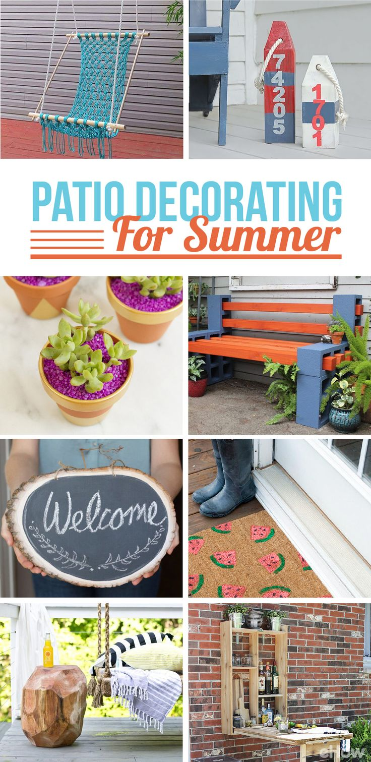 Get your outdoor space ready for summer with budget-friendly, do-it-yourself projects that'll make you want to enjoy your patio all summer long.   Read more: http://www.ehow.com/how_2037758_decorate-patio-summer.html?utm_source=pinterest.com&utm_medium=referral&utm_content=curated&utm_campaign=fanpage