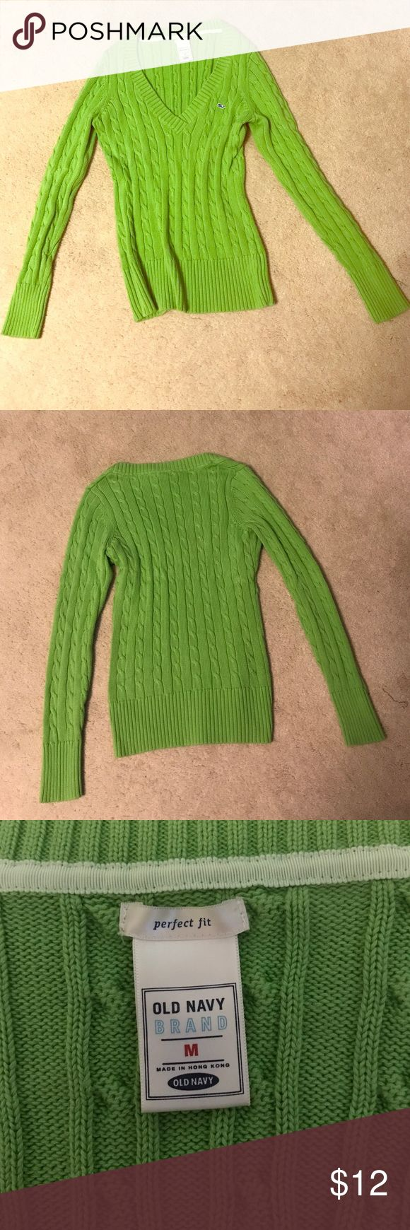 Lime green Old Navy Sweater Lime green Old Navy women's v neck sweater. In perfect used condition! No stains rips or tears! Old Navy Sweaters V-Necks