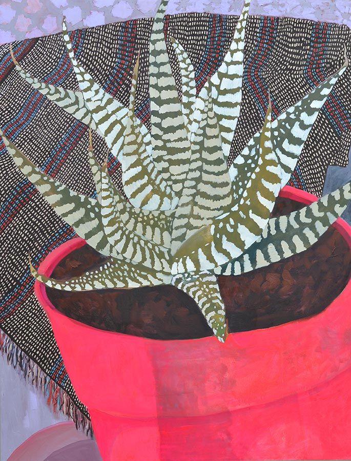 Anna Valdez Zebra Succulent - oil on canvas. 48 x 62 inches. 2013 #haworthia #succulent
